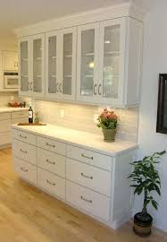 floor cabinet with doors buffet built out of white shaker cabinet with glass doors on top