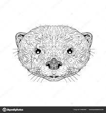 иллюстрация значок талисман головы азиатского малых когтистые выдра