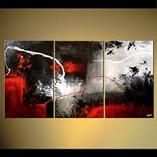 handpainted 3 piece black white red modern abstract oil paintings on canvas pictures wall art for on wall art black white and red with amazon handpainted 3 piece black white red modern abstract oil