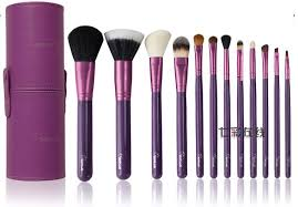 2016 new arrival sixplus 12pcs makeup brush set in round purple high quality leather case
