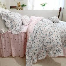 new dobby print bedding set lace ruffle duvet cover home bed sheet set bedspread bed cover fashion bedding full cotton fabric full size bedding sets on