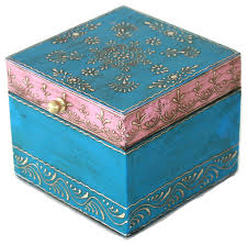 wooden hand painted jewelry box in a beautiful pink and blue