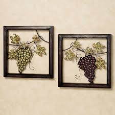 set of two framed yellow purple grapes metal leaf square sculpture wine wall art set valley  on metal grape vine wall art with wall art toop ten gallery wine wall art wine room design canvas