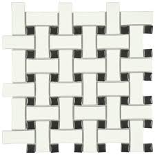 Black And White Tiles Basketweave Mosaic Tile Tile The Home Depot