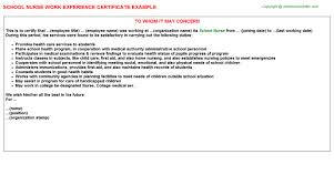 School Work Experience Letter Template Gdyinglun Com