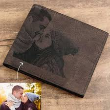 custom photo wallets personalized leather wallets men s bifold custom inscription photo wallets