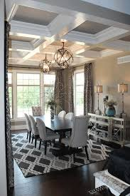 Coffered Ceiling Pictures Brown Varnished Wooden Dining Table