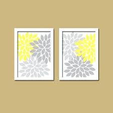 bold colorful yellow grey gray fl flower burst set of 2 prints wall decor abstract art