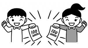 100点の答案を持つ児童のイラスト 無料イラスト素材素材ラボ