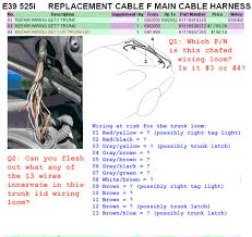 e39 electrical problems traced to trunk lid harness wire chafing e39 electrical problems traced to trunk lid harness wire chafing diy diagnostic bimmerfest bmw forums