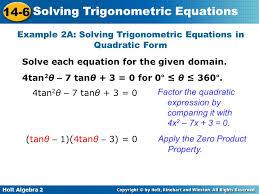 example 2a solving trigonometric equations in quadratic form