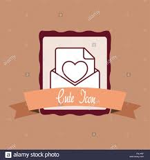 Cute Love Letters Emblem With Cute Love Letter And Decorative Ribbon Over Brown