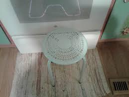 light aqua round painted metal table