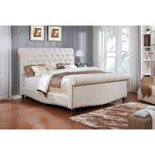 Upholstered sleigh bed frame Modern Best Quality Furniture Linen Upholstered Sleigh Bed Overstock Shop Best Quality Furniture Linen Upholstered Sleigh Bed Free