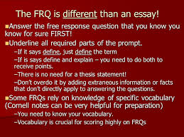 writing an ap human geography frq or response question tips the frq is different than an essay