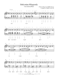 Music Spreadsheet Bohemian Rhapsody By Queen Piano Sheet Music Intermediate
