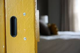 recessed barn door pulls. so, finally, our barn door is fully functional and d-o-n-e. going to the bathroom has never been more fun. recessed pulls z
