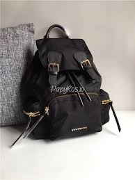 replica burberry the rucksack backpack in black technical nylon and leather