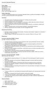 insurance specialist resume sample career objective sample insurance resume