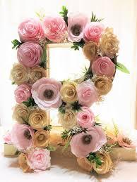 fl letter large 16 paper mache letter blush gold paper flower letter fl wall decor baby shower fl letter nursery decor