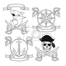 Fototapeta Lebka Meč žralok Kotva Kormidlo Stuha Karikatura Pirátské Tetování