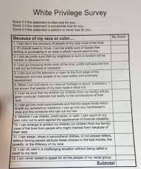 white privilege survey given to high school students  white privilege survey given to high school students