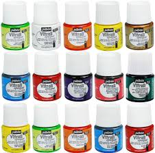 pebeo vitrail glass paint stained transpa opale opaque colours 45 ml pebeo