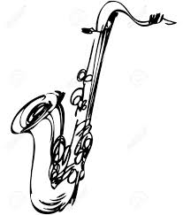 Drawn instrument saxophone - Pencil and in color drawn instrument ...