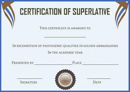 Superlative Certificate Senior Superlative Certificate Templates Superlative Certificate