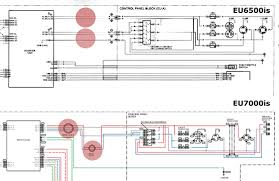 honda's new eu7000 fuel injected generator page 4 smokstak Inverter Generator Wiring Diagram wiring schematics for the eu7000 that they have added noise filters to the eu7000 where there were none in the eu6500 (see the areas screened red in the Inverter 12 Volt Wiring Diagram