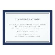 Hotel Accommodations Cards Navy And White Border Hotel Accommodations Card