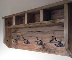 Distressed Wood Coat Rack With Shelf Enchanting Farmhouse Coat Hanger From Pallet Wood Projects To Be Started