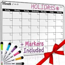 Dry Erase Monthly Calendar Set Large Magnetic White Board Grocery
