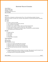 Resumes Head Bartender Resume Objective Responsibilitiesle