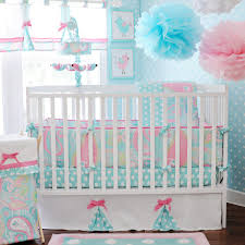 fresh nursery decorations with pink aqua baby room color scheme and charming aqua blue polka dot