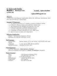 Manual Testing Resume Format Resume CV Cover Letter