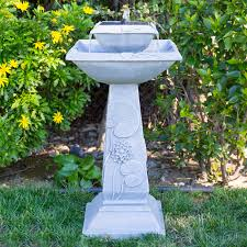 Solar Power Lantern Lamp Post Planter Bird Bath Feeder Garden Patio