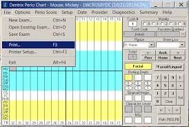 Dentrix Perio Charting Combined Graphics And Data Chart Will Not Print Dental