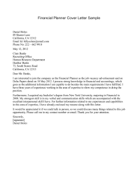 Financial Advisor Cover Letter Example Cover Letter Example