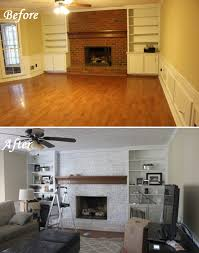 whitewashed fireplace before and after