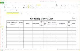 Excel Guest List Invite List Template Wedding Invitation Planning Guest List Template