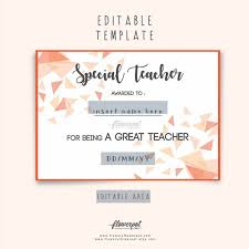 best teacher award template special teacher award certificate template editable in word etsy