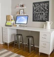 diy file cabinet desk. Modren Desk Metal Legs Add Style To This All White File Desk Notice The Support  Bracket Mounted  For Diy File Cabinet Desk