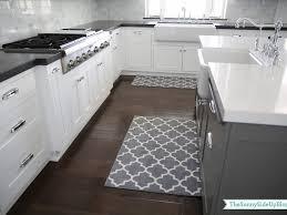island and rug kitchen white gray geometrics modern kitchen carpet
