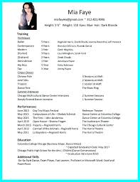 Dance Resume Template Simple Child Dance Audition Resume Template Kor44mnet