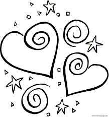 Small Picture stars and heart valentine 316d Coloring pages Printable