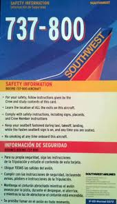 southwest airlines boeing 737 800 safety card