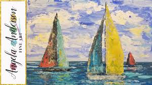 simple sailboat seascape acrylic painting tutorial using palette knife live step by step lesson