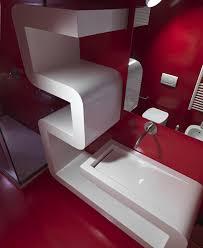 artistic red floating sink cabinet ideas for modern bathroom