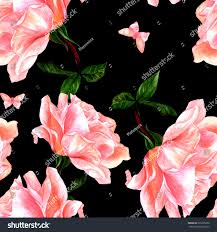 a seamless pattern with a watercolor drawing of a blooming pink rose and a erfly